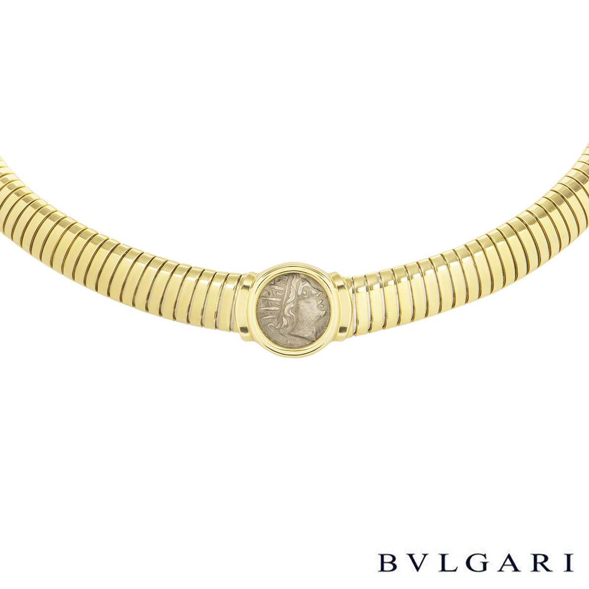 Bvlgari Yellow Gold Caria Rhodos Coin Necklace